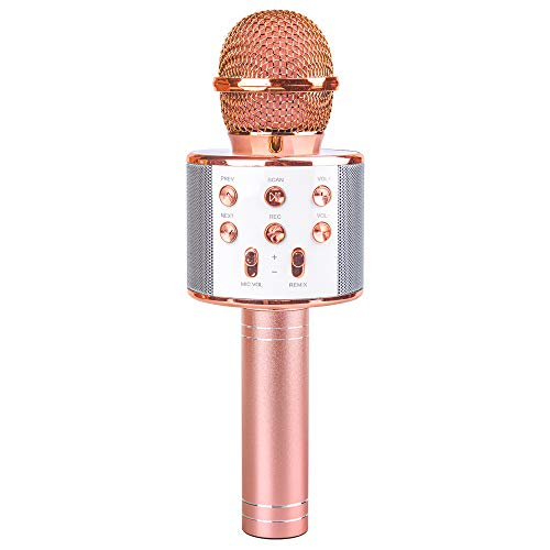 Microphone Gift Age 5-12 Girls Kids, Wireless Karaoke Microphone Toy for 6-11 Year Old Girl Children Singing Microphone Machine Gifts for 6-11 Year Old Girl Teens Birthday Gift for Girl Rose Gold MIC (Presents Girls Christmas Good For)