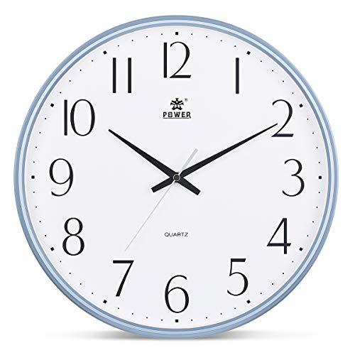 a21e544ad9f POWER 13-Inch Round Non-Ticking Silent Wall Clock Decorative ...