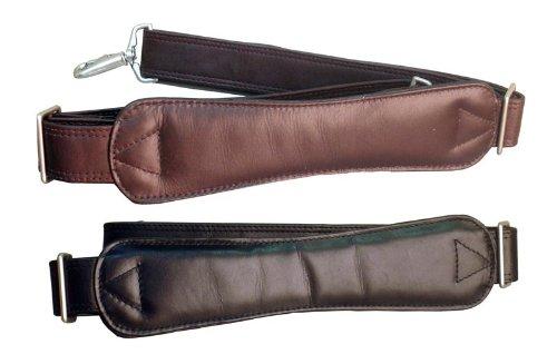 Extra-Long Ergonomic Leather Shoulder Strap Color: Black with Matte Silver (Ergonomic Shoulder Strap)