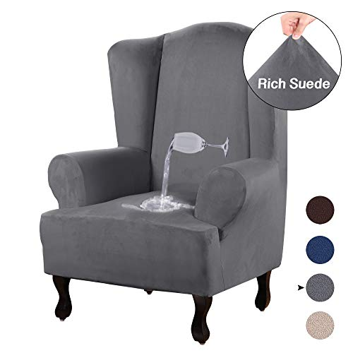 Slipcovers with Arms Gray Slip Cover Chair Suede Sofa Protector 1-Piece Spandex Stretch Arm-Chair with Wingback Couch Slip Covers Furniture Protector Shield (Wing Chair, Grey) ()