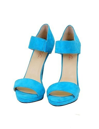 ShangYi Womens Shoes Leatherette Stiletto Heel Open Toe Sandals Office & Career/Party & Evening/Dress Blue Blue