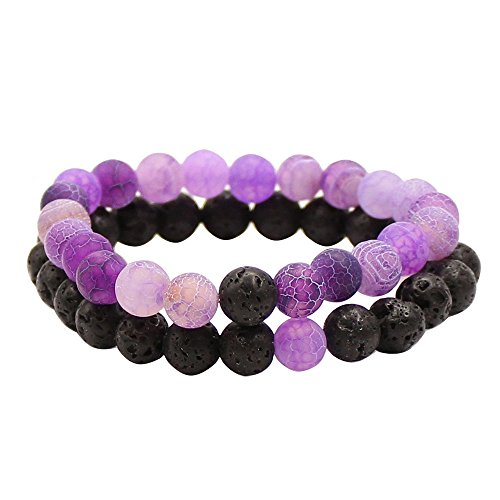UEUC Couples His and Hers Bracelet Black Volcanic Stone & Color Weathering Scrub Agate 8mm Beads