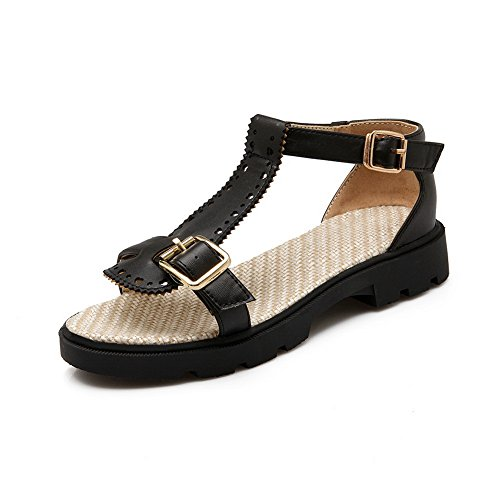 Fashion Womens Platforms 1TO9 Marking Urethane MJS03240 Non Oversized Black Sandals ZBqSH1qIn