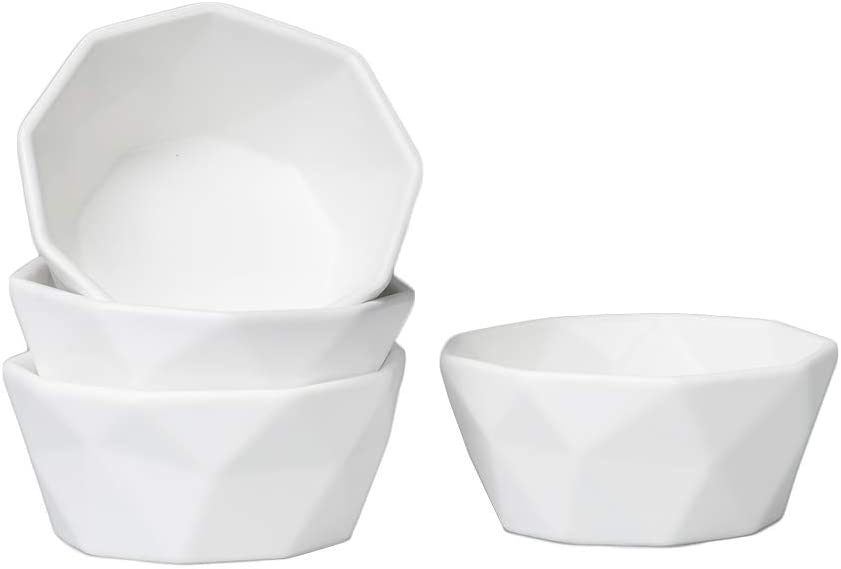 BonNoces 6 Oz Porcelain Dessert Bowls, Matte Geometric Bowls Set, Creme Brulee Small Side Dishes for Baking, Souffle, Pudding, Cereal, Soup, Fruit, Ice Cream, Set of 4 (White)