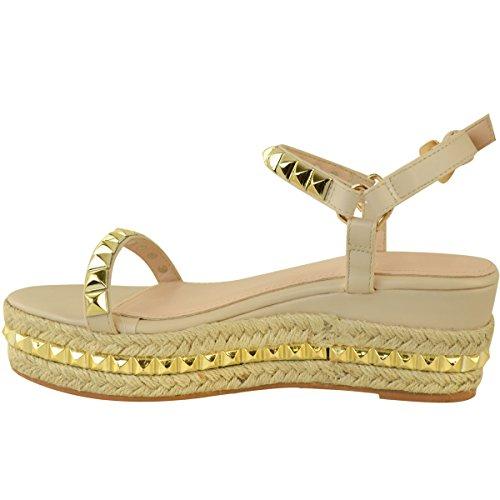 Baja Zapatos Oro Sintética con Carne Talla Cuña tachuelas Piel Alpargatas Fashion Mujer Plataforma Thirsty Rosa Sandalias HXwnPq