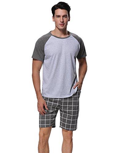 Aibrou Pajamas for Men Cotton Short Sleeves Sleepwear for Men Shorts Pajamas Set