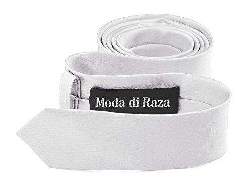 Slim Cotton Polyester - Moda Di Raza- Mens Skinny Slim Neck Tie - Silk Finish Polyester Men Necktie - Solid Color Long Ties for Men - Fashion Tie - White