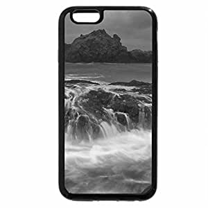 iPhone 6S Plus Case, iPhone 6 Plus Case (Black & White) - surf bathing rocky beach