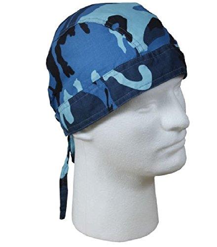 Sky Blue Black Camo Camoflauge Head Wrap Durag Doo Rag Cotton Adjustable Ties