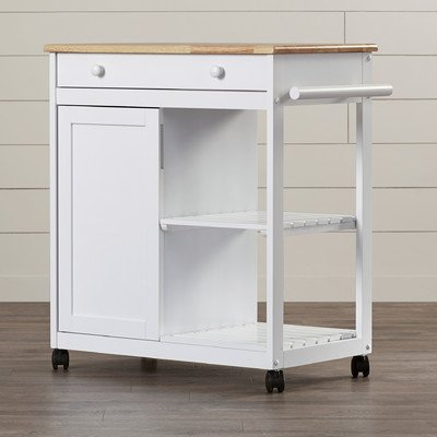 Allie Kitchen Cart with Wooden Top, Two slatted shelves by August