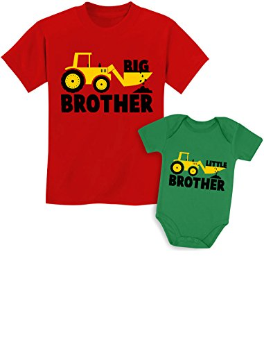 Big Brother Little Brother Shirts Gift for Tractor Loving Boys Siblings Set Baby Green/Kids Red Baby 6M / Kids 2T