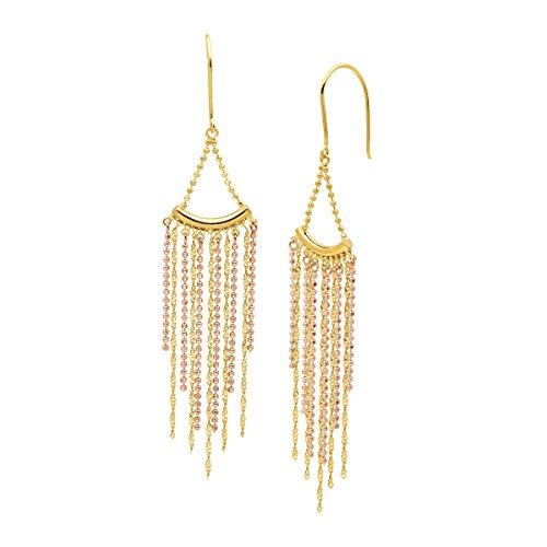 Beaded Fringe Drop Earrings in 18K Two-Tone Gold over Sterling - Tone Earrings Two Strand