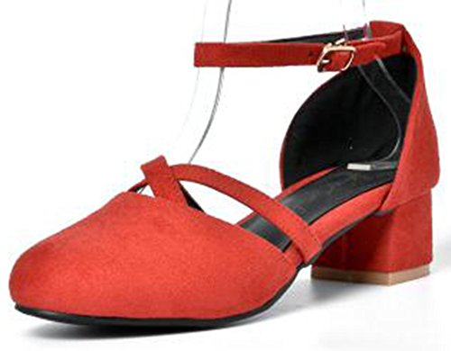 Easemax Womens Dressy Mid Heels Chunky Ankle Strap D-Orsay Pumps Red oneEF3nql