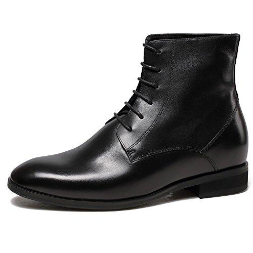 CHAMARIPA Herren Schwarz Kalbsleder Derby Boots Winter Stiefeletten - 7 cm erhöhen - H62B11K071D