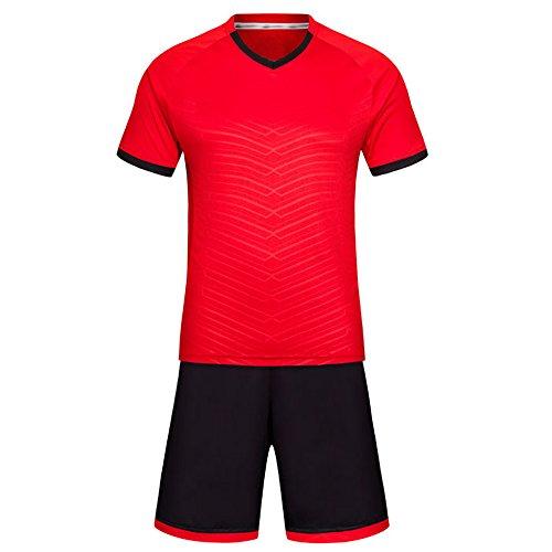花恥借りているKINDOYO ワールドカップサッカージャージー、通気性の半袖シャツ、サッカーキット、スポーツウェア (レッド,2XL)