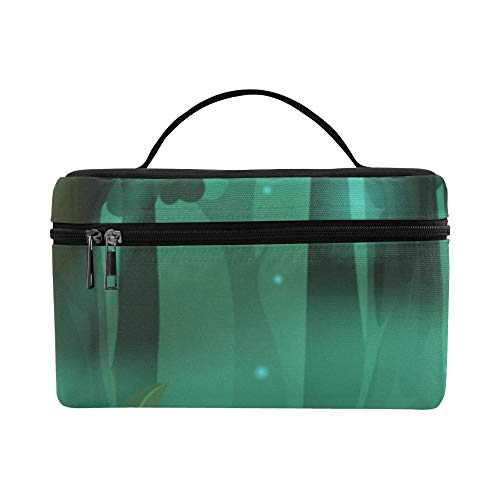 Beauty Bag Durable Cosmetic Bags Forest Green Tree Peaceful Waterproof Make Up Bag Picnic Makeup Organizer Outdoor For Adult Makeup Pouch
