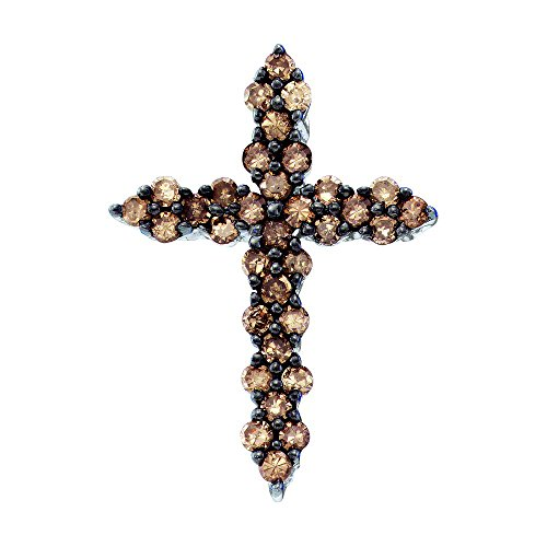 Chocolate Diamond Pave - Brandy Diamond Chocolate Brown 10k White Gold Cross Necklace Pendant 1/2 Ctw.