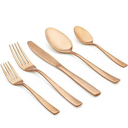 Vistella 20-Piece Matte Rose Gold Copper Dinnerware / Flatwa
