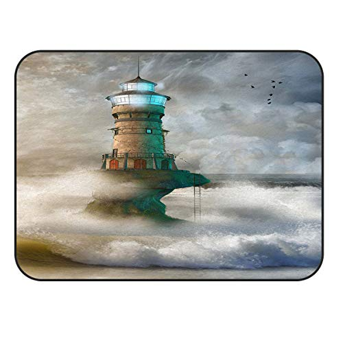 Outdoor Lighthouse Natural Accent (Arts Language Area Rugs for Kids Bedroom Livingroom Lighthouse in Roaring Ocean Waves Children Play Nursery Floor Carpet Non-Slip Mat Offic Kitchen Runner Rugs 48x72in)
