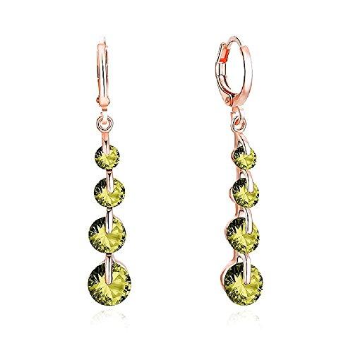 (LiveSublime Rose Gold Brilliant Cut Austrian Crystal Drop Dangle Earrings (tourmaline green))