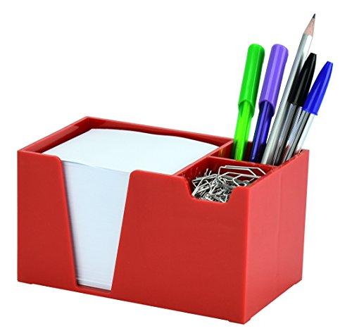 Acrimet Desk Organizer Pencil Paper Clip Holder (Solid Red Color) (With Paper)