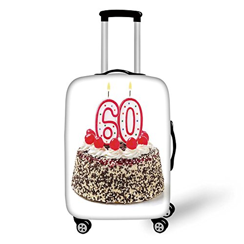 Travel Luggage Cover Suitcase Protector,60th Birthday Decorations,Happy Party Cake with Candles Cherries and Sprinkles Image Photo,Multicolor,for Travel (Cherry Rockford)