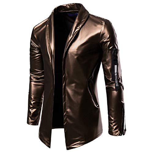 Pure EnergyMen Collar Classic Color Suit Glossy Zip Full golden Lapel Casual PU CO4ZF0qxOw