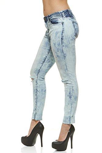 V.I.P.JEANS Slit Jeans for Women Skinny Leg Acid Bleach WashPlus Size 18 Acid Bleach Denim