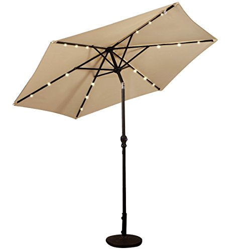 9 ft Umbrella Solar LED Patio Garden Outdoor Market Steel Tilt W/Crank, Beige (Stand not included)