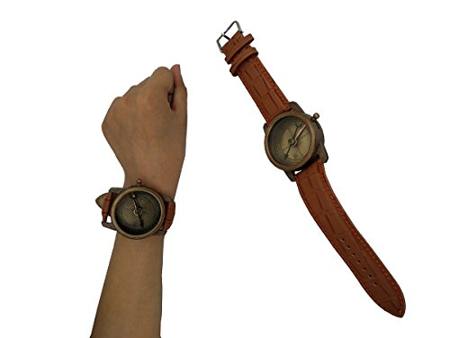Mens Gift Ideas Stempunk Solid Brass Wrist Watch Sundial with Soft Leather -