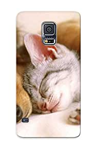Premium Protection Puppy Sleeping With A Kitten Case Cover With Design For Galaxy S5- Retail Packaging