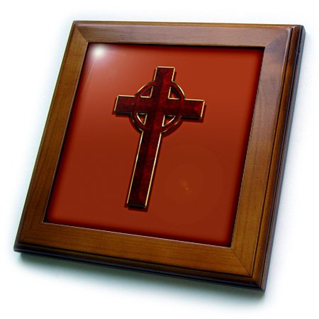 3dRose ft_110038_1 Beautiful Celtic Cross, Looks Like Fine Jewelry, Crimson Marble Print, Gold Trim on Red Background-Framed Tile, 8 by 8-Inch