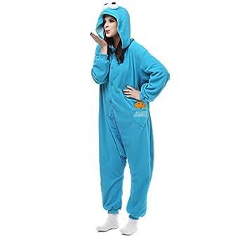 HOLA SUNNY Blue Sesame Street Cookie Monster & Elmo Onesie for Adults. Halloween Xmas Animal Kigurumi Pajama Costume for Women/Men(M/L)