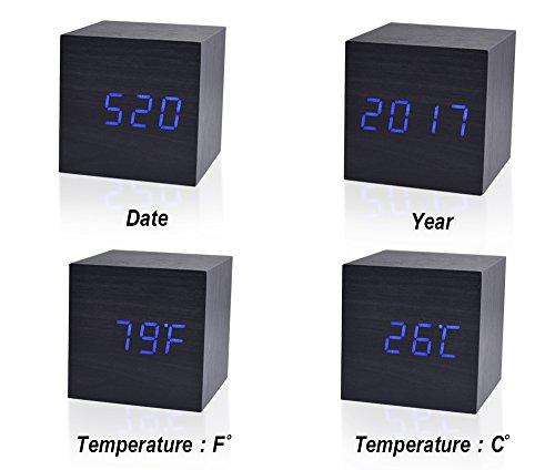 Beautys 101 Wooden Digital Alarm Clock- Premium Multifunction Electronic LED Digital Alarm Clock For Bedroom, Kids' Room & Travel- Modern, Stylish & Reliable Alarm Clock (Blue Light - Black Wood) by Beautys 101 (Image #3)