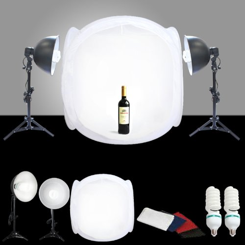 CanadianStudio STUDIO IN A BOX 32 x 32 inches/80 x 80 centimeters Shooting Tent Light box with 1000 watt output pure white Light, 4 Background (Black, White, red, blue), light stand and reflector for Table Top Photography SSL-800