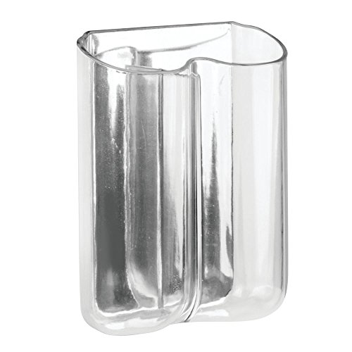 InterDesign AFFIXX, Peel-and-Stick Strong Self-Adhesive Una Dual Toothbrush Holder for Bathroom - Clear/Mirrored Accent