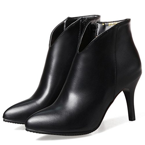 para de Botines Mujer de Black de Tacon Aguja Moda RAZAMAZA Zapatos gPwq8WB