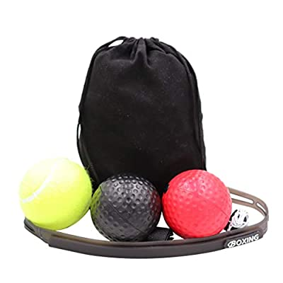 Hellofishly 3 Pcs Boxing Reflex Ball,Difficulty Level Boxing Ball with Headband Perfect for Hand Eye Coordination Training Reaction (Multicolor): Toys & Games