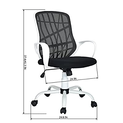GreenForest Mesh Mid-Back Swivel Arm Office Chair with Special Design Mesh Back,Black