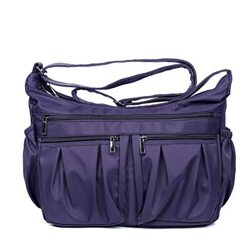 Pocket Diaper Bag - Nylon Crossbody Bags for Women Multi Pocket Shoulder Bag Waterproof Travel Purses and Handbags (Purple-Updated-Large)