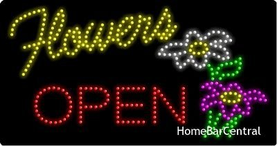 LED Open Sign On/off with Chain High Visible Bright Colors Led Moving Flashing Animated Neon Sign Motion Light 19x10 (OPEN/FLOWER)