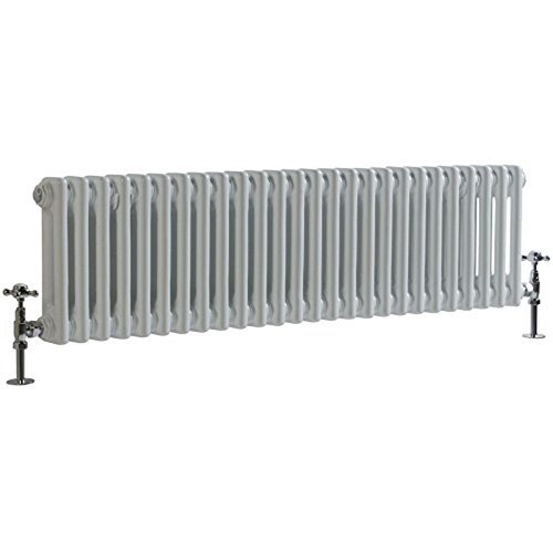 Hudson Reed - Regent - Traditional White Cast-Iron Style Horizontal 2-Column Radiator - 11.75
