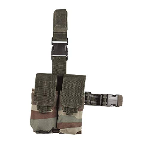 VooDoo Tactical 20-9308005000 Drop Leg Platform with Attached M4/M16 Double Mag Pouch, Woodland Camo