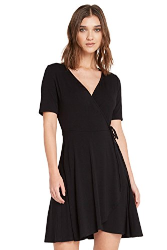 Poshsquare Women's V Neck Short Sleeve Fit and Flare Classic Wrap Dress USA Black S
