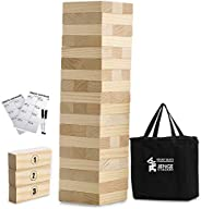 Large Tower Game Jenge Stacker Wooden Stacking Games Lawn Outdoor Games for Adults and Family - Includes Rules