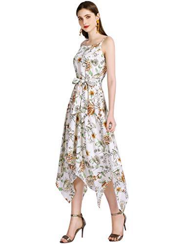 Gardenwed Chiffon Dresses for Women Floral Sundresses Asymmetrical Summer Dresses for Women Party Wedding White Flower L ()
