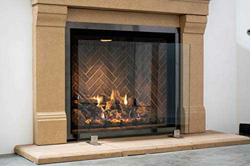 "Modern Free Standing Glass Fireplace Screen (Clear, Stainless Steel Feet) Medium (39"" x 29"")"