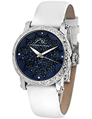 Porsamo Bleu Genevieve Satin Covered Genuine Leather Womens Topaz Watch with Crushed Natural Crystal Dial 682AGEL