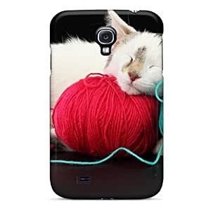 Special RachelMHudson Skin Case Cover For Galaxy S4, Popular Cat Sleeping Witth Yarn Phone Case