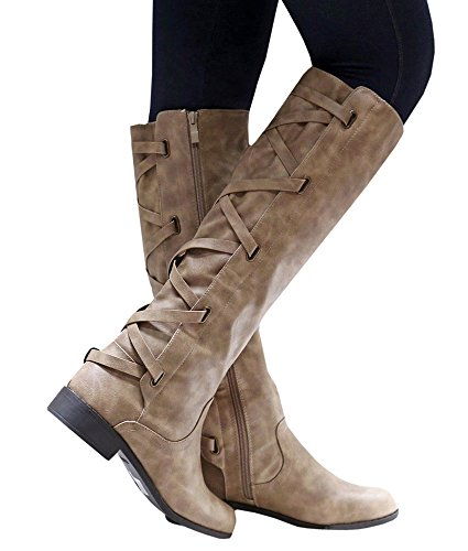Womens Riding Boot Winter Knee High Lace Up Faux Leather Criss Cross Strap Buckle Shoes